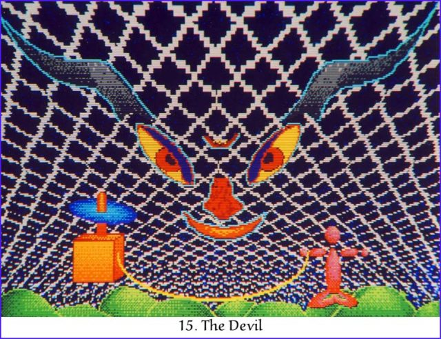 The 15th card, The Devil, in my tarot deck of The Prism Tarot.